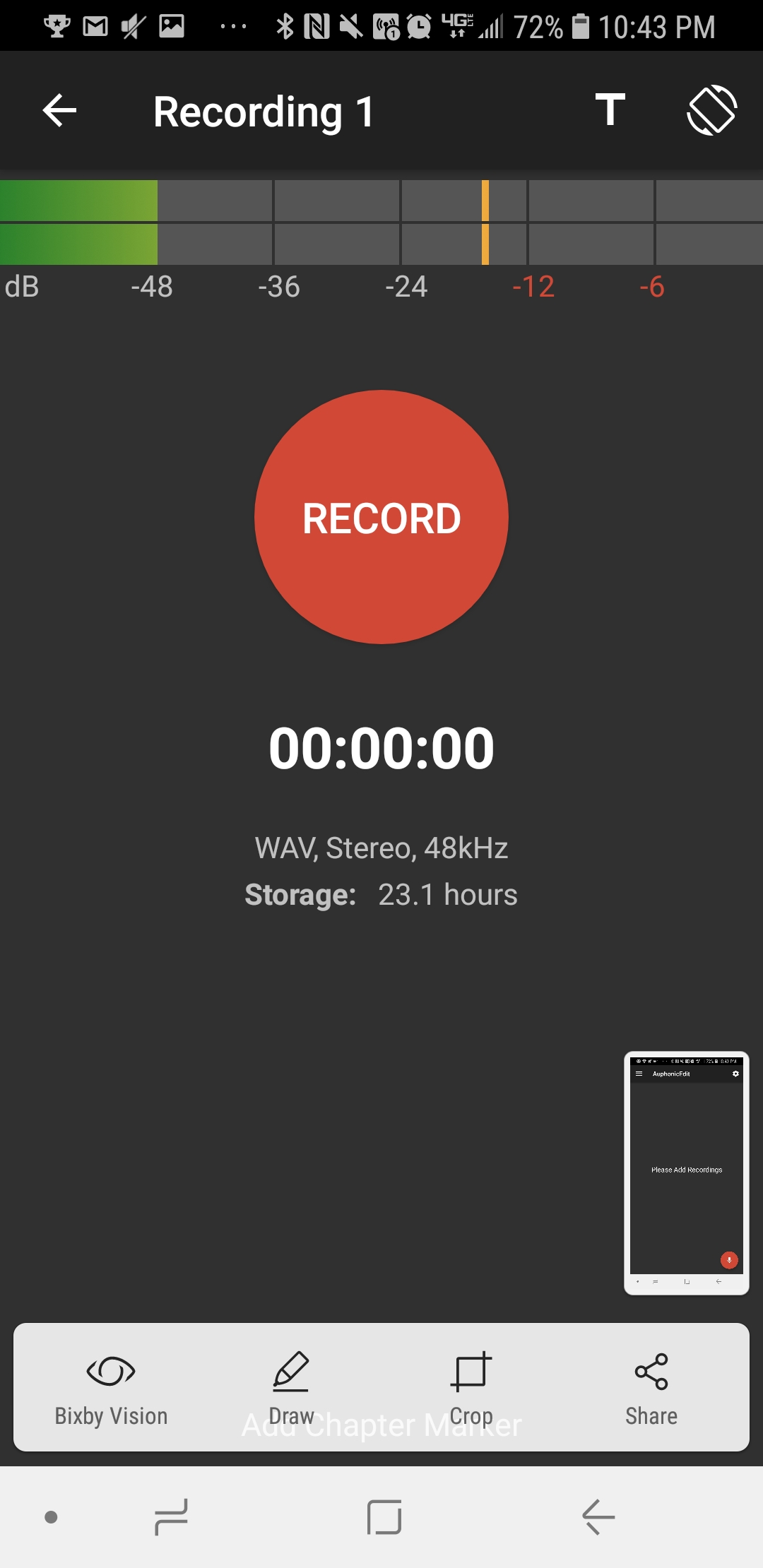 Click Record to Record from the Phone's Mic