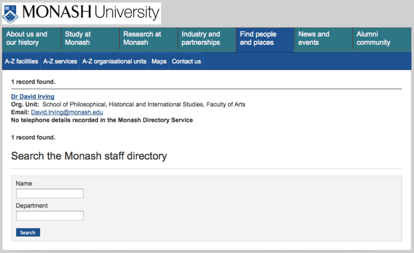 20120222 Dr David Irving on Monash staff directory