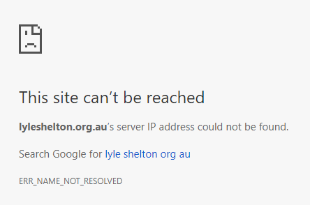 lyleshelton.org.au domain can't be reached April 23 2018