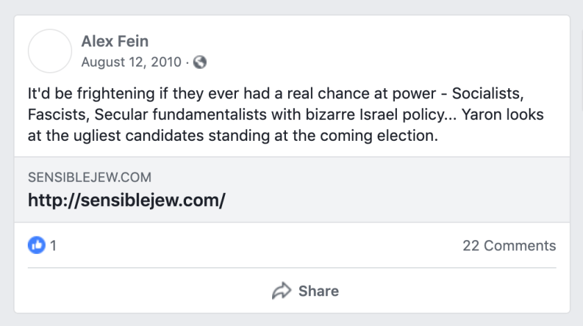 Alex Fein  August 12, 2010  It'd be frightening if they ever had a real chance at power - Socialists, Fascists, Secular fundamentalists with bizarre Israel policy... Yaron looks at the ugliest candidates standing at the coming election.
