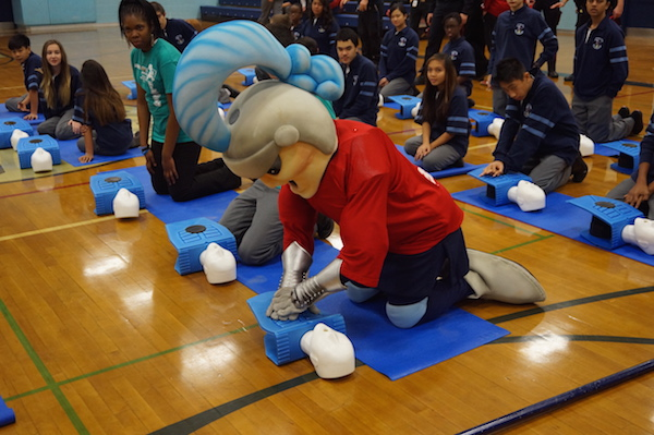 "Even ""Louie the Lancer"" got CPR training today"