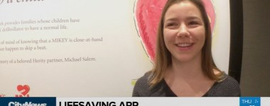 Kayley on City News talking about saving a life CPR she learned on the Mikey Young at Heart app