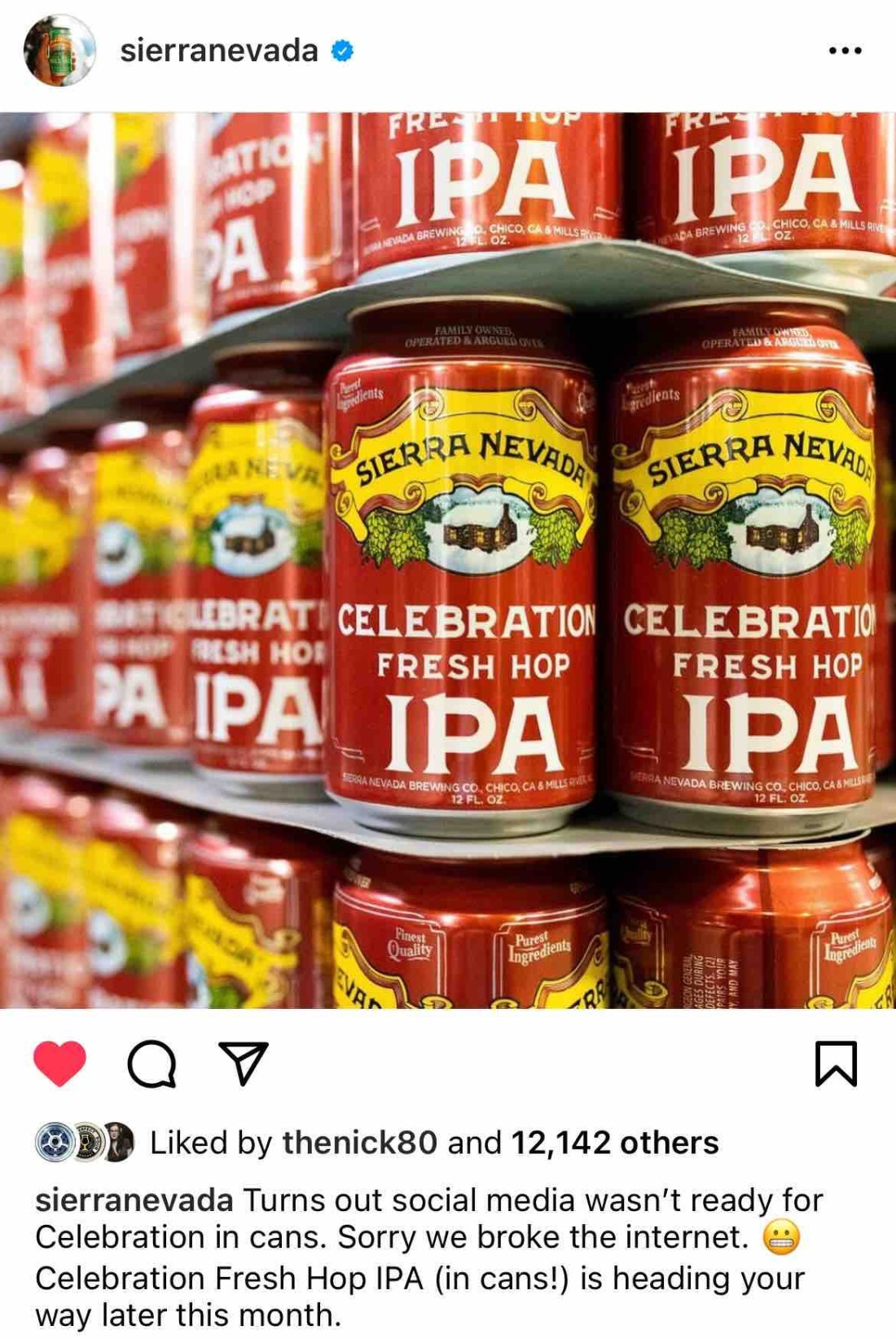 Celebration Ale in cans