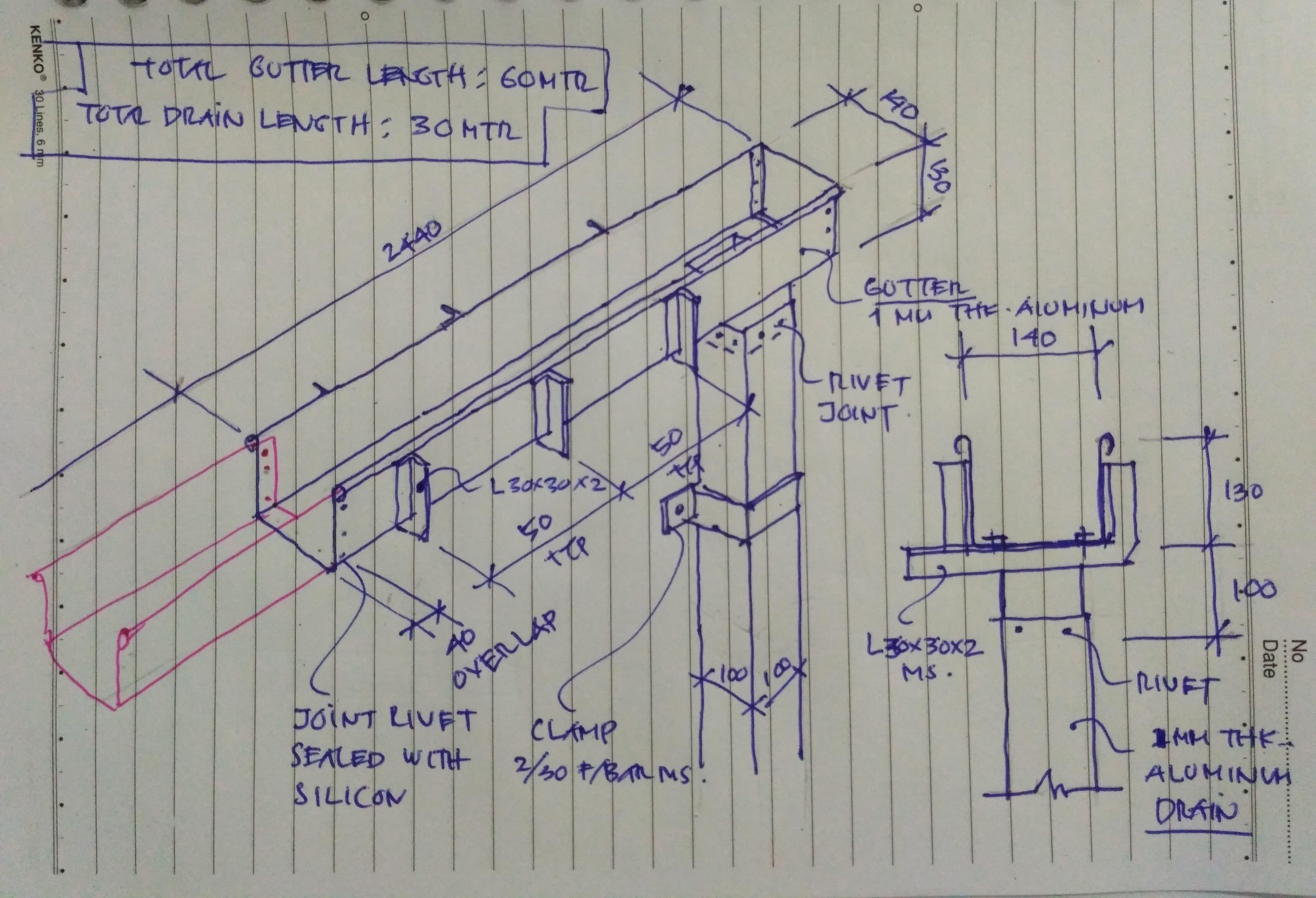 Sketsa Original Desain Talang Air Aluminium untuk Bangunan