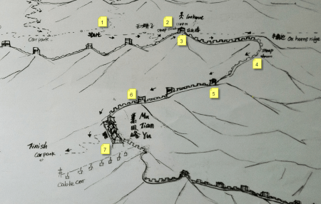 mapa da trilha Jiankou to Mutianyu