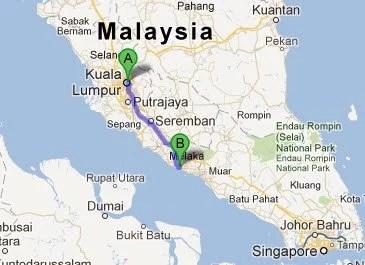 Kuala Lumpur para Malaca - via Google Maps