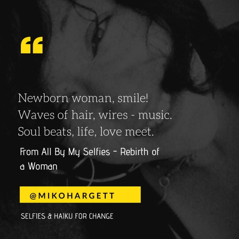 Selfie of Miko, black and white, new born woman smile!