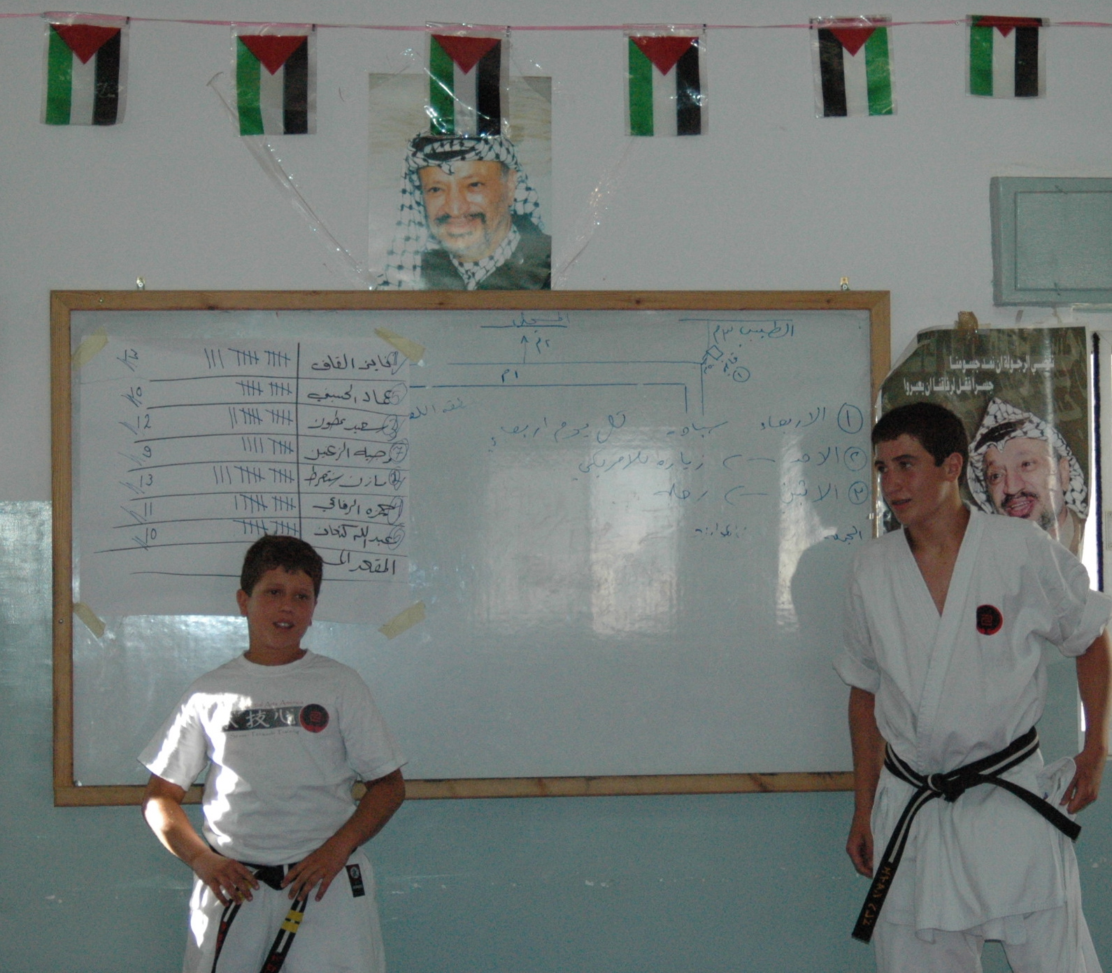 My boys at Anata TKD school. Check out the flags