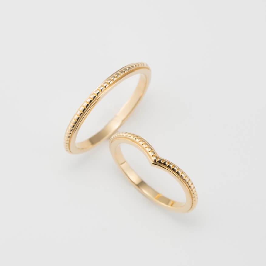 ミルグレインの細い幅の結婚指輪