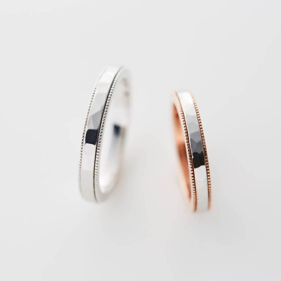 鎚目とミルグレインのコンビリングの結婚指輪