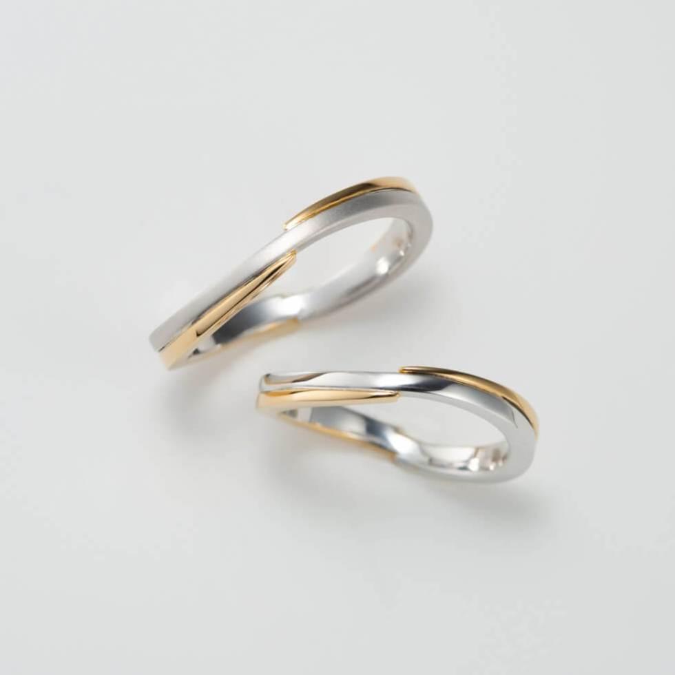 S字デザインの結婚指輪