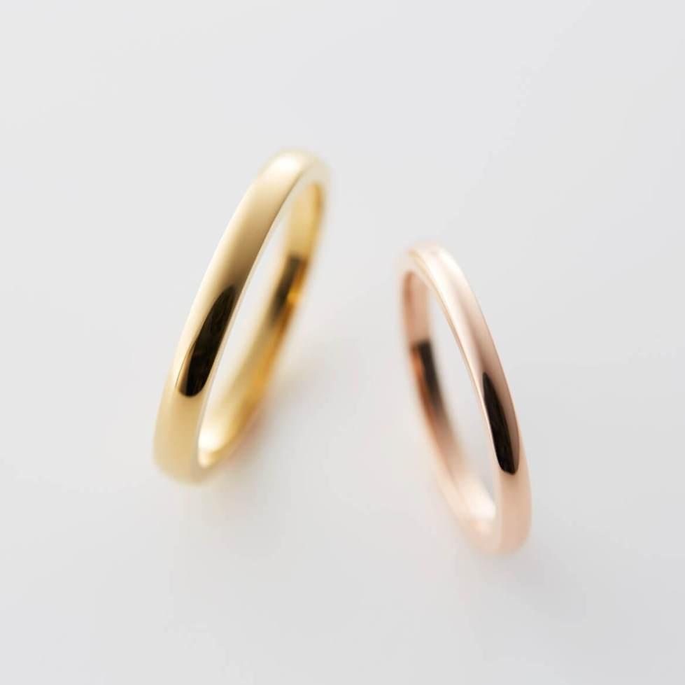 甲丸のゴールドの結婚指輪