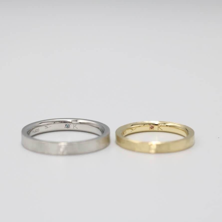 内側(裏側)にトパーズとトルマリンをあしらった結婚指輪