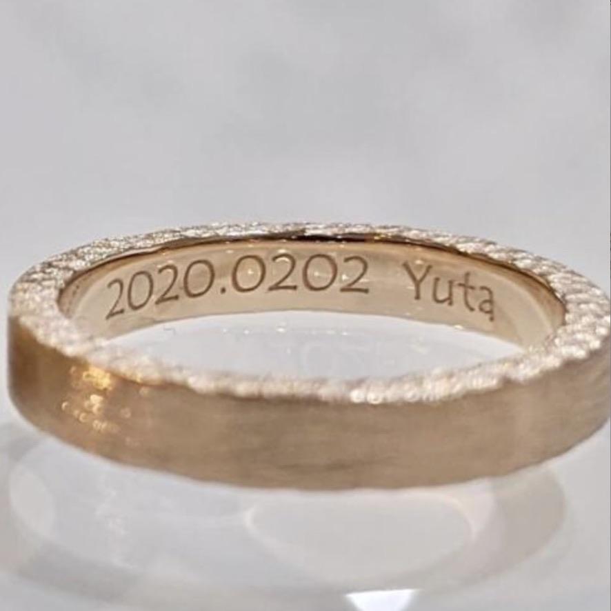 レーザー刻印no3フォントを入れたの結婚指輪