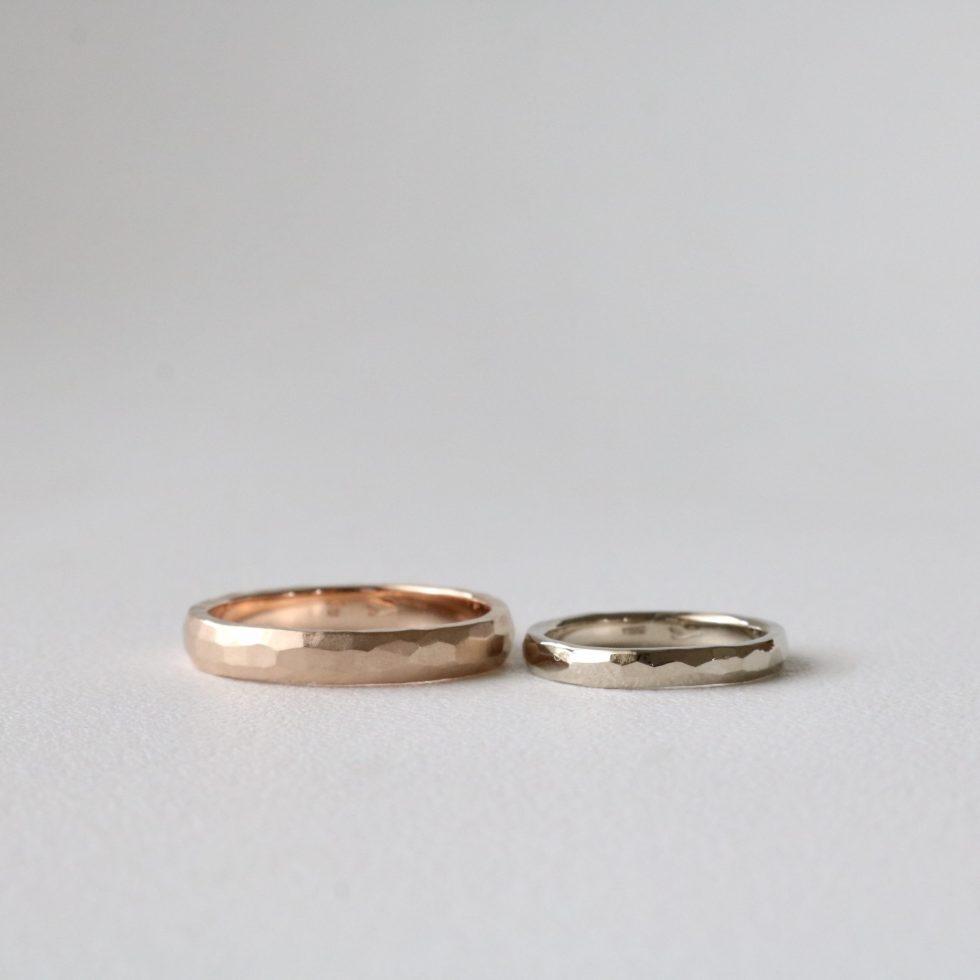 ピンクゴールドとホワイトゴールドの結婚指輪