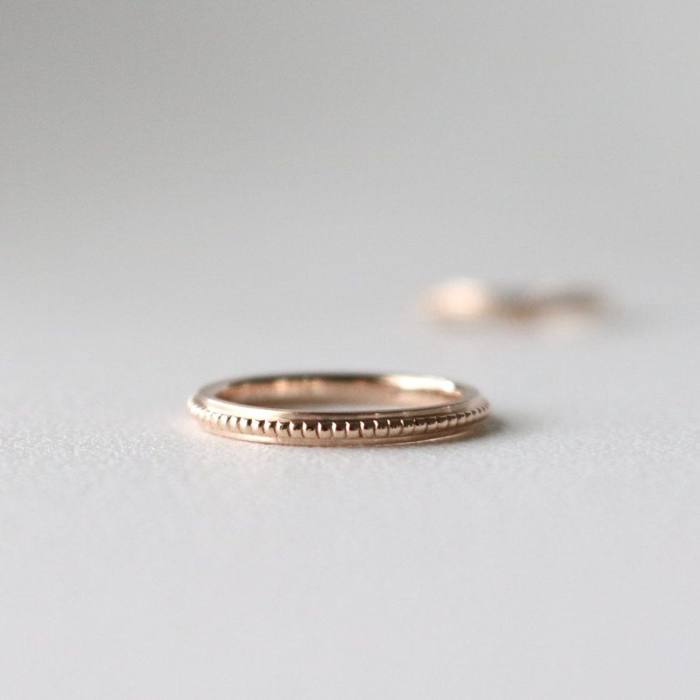 ストレートのミルグレイン結婚指輪