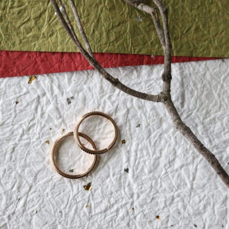 オーダーメイドのピンクゴールド結婚指輪