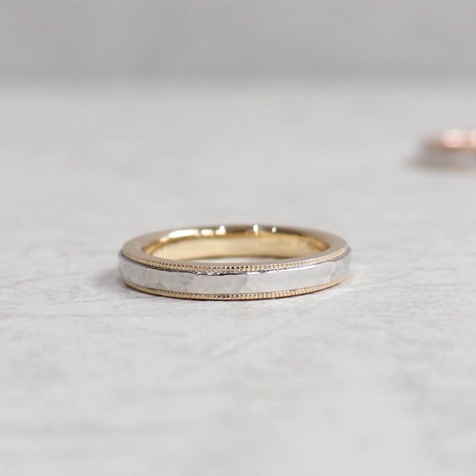 ゴールドとプラチナのコンビネーション結婚指輪