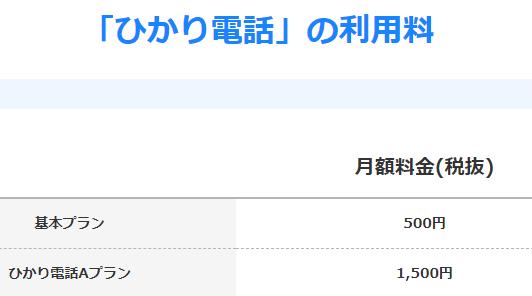 ひかり電話基本月額料金