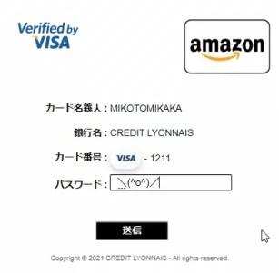 クレジットカード情報を適当に入力したら次は本人認証サービス(3Dセキュア)の確認画面に移動します。ここではVISAカードのインタネットサービスパスワードを入力します。