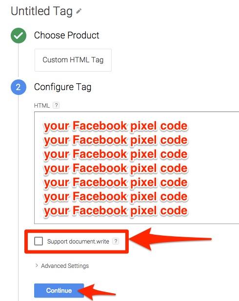 Paste facebook code - GTM