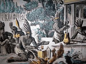 """Azteken bei der Zubereitung des """"Xocolatl"""": Kakaobohnen werden geröstet, gemahlen und mit Wasser und Gewürzen schaumig gerührt (Olfert Dapper, """"Die unbekannte Neue Welt"""")."""