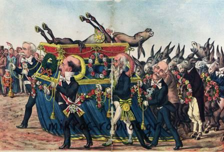 H κηδεία ενός «χρυσογαϊδάρου», όπως την είδε η εφημερίδα ΑΡΙΣΤΟΦΑΝΗΣ. Το περίτεχνο και χρυσοποίκιλτο φέρετρο συνοδεύουν οι πολιτικοί αρχηγοί της εποχής (Τρικούπης, Ζαϊμης κ.ά.), συγγενείς και φίλοι, ενώ αριστερά διακρίνεται ο λαός.
