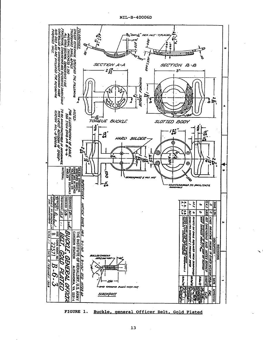 Figure 1. Backle, General Officer Belt, Gold Plated
