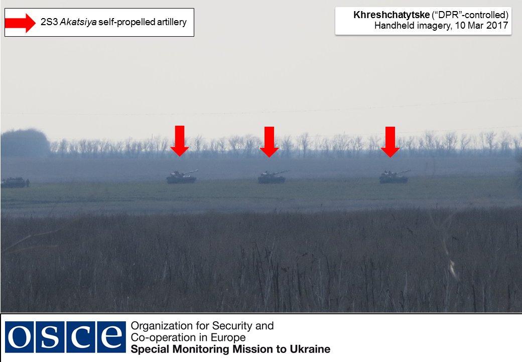 СММ ОБСЄ зафіксувала артилерію російсько-терористичних військ за 9 км від фронту