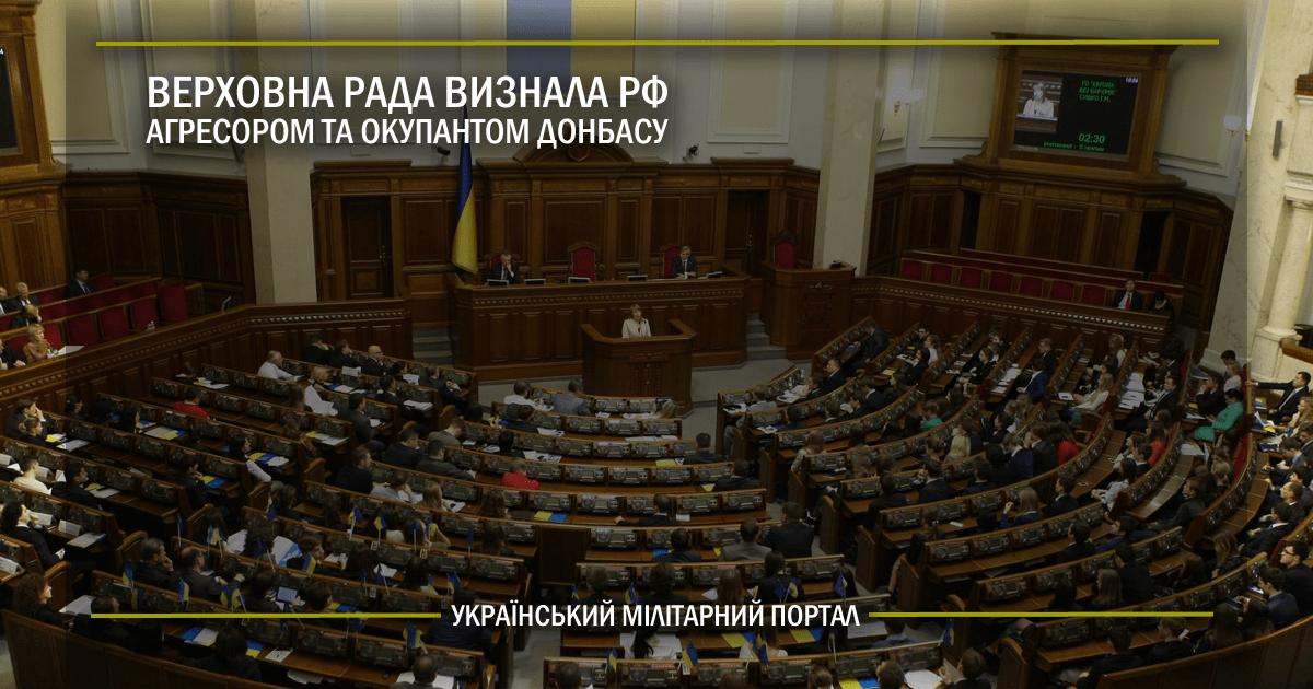 Верховна Рада визнала РФ агресором та окупантом Донбасу