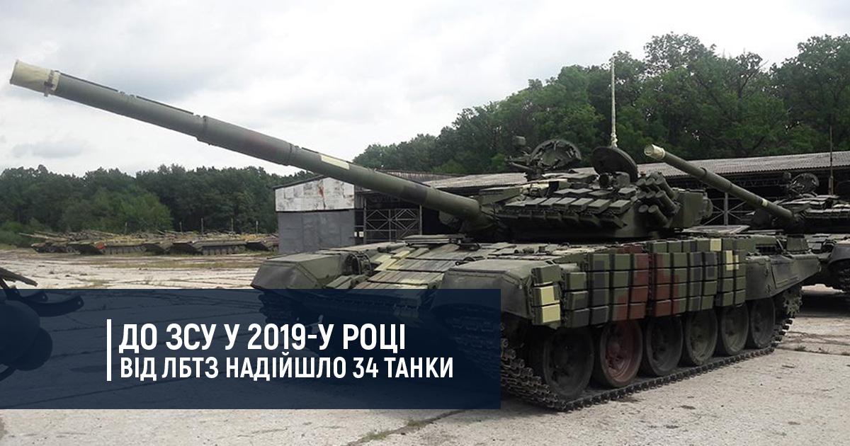До ЗСУ у 2019-у році від ЛБТЗ надійшло 34 танки