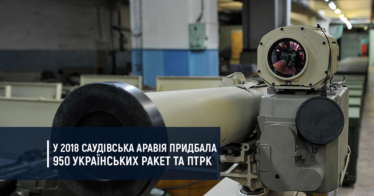 Минулого року Саудівська Аравія придбала 950 ракет та ПТРК українського виробництва