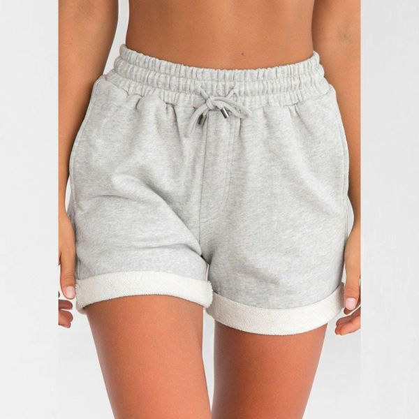 Women Casual Solid Color Hot Pants Loose Beach High Waist Short Trousers