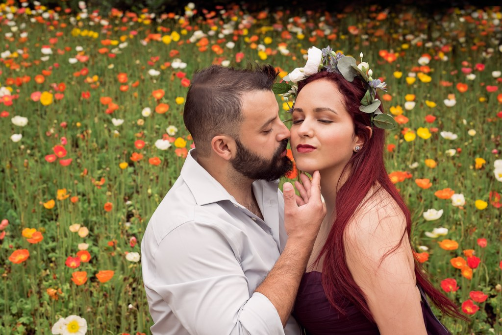 An engagement session for an engaged couple at Chicago Botanic Garden in the spring by a wedding photographer Mila Craila Photography