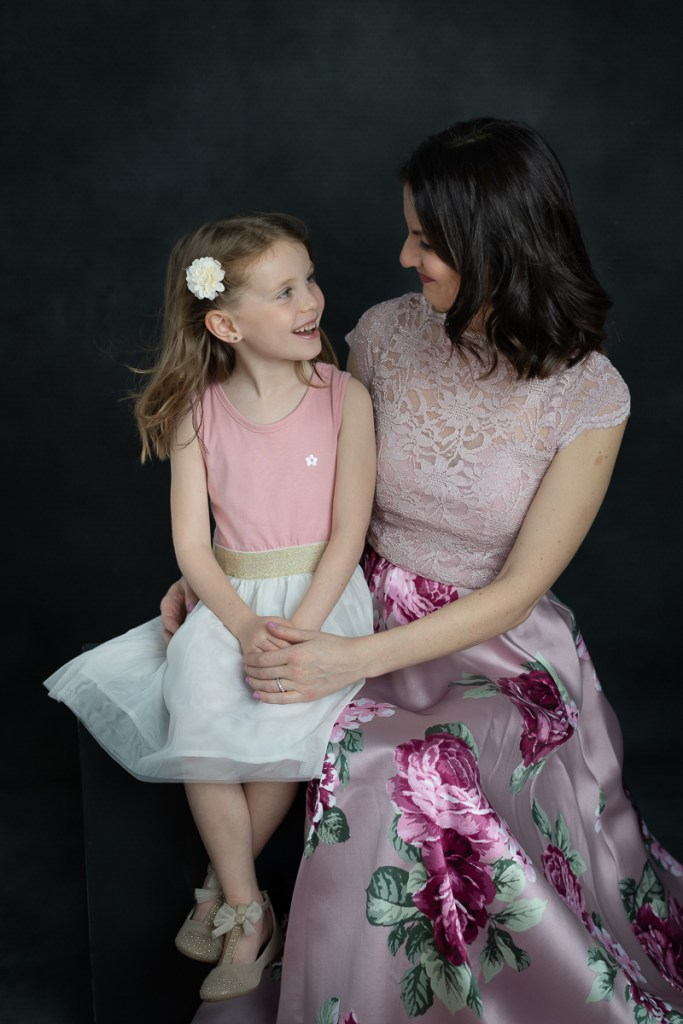 Studio family session for a young girl and her mother in Naperville by family photographer Mila Craila Photography