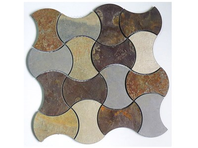 DS106-5 (Dogbone Waterjet Mosaic in SL493 Multicolor Golden Rust Slate)
