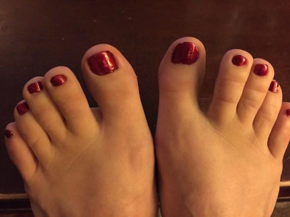 """In My Santa Suit"" red toes"