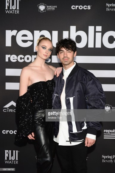 BEVERLY HILLS, CA - FEBRUARY 10:  Sophie Turner (L) and Joe Jonas attend Republic Records Grammy after party at Spring Place Beverly Hills on February 10, 2019 in Beverly Hills, California.  (Photo by Andrew Toth/Getty Images for Republic Records)