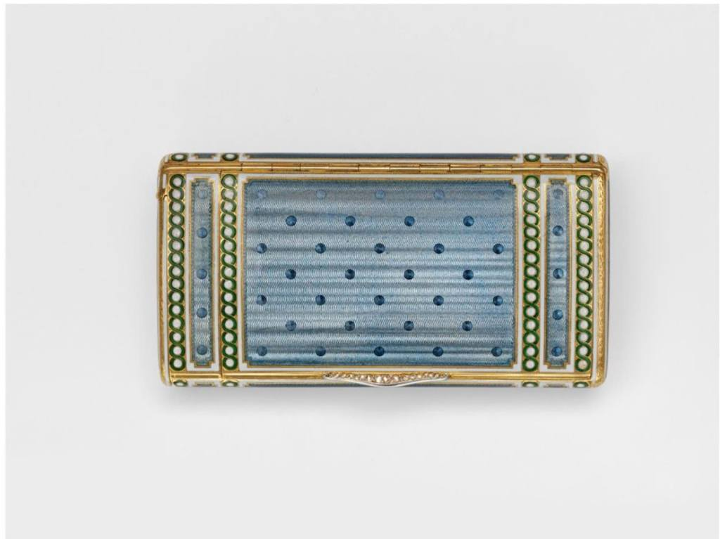GOLD, ENAMEL, ENGINE-TURNED CIGARETTE CASE WITH DIAMOND THUMBPIECE, CARTIER, CA 1907