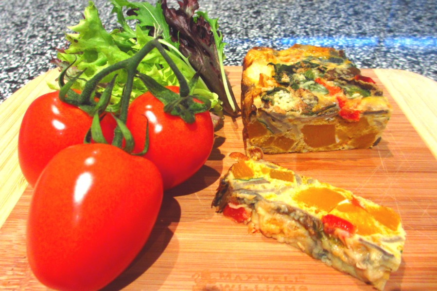 Zucchini, Haloumi, Bacon & Vegetarian Frittata (Gluten Free)