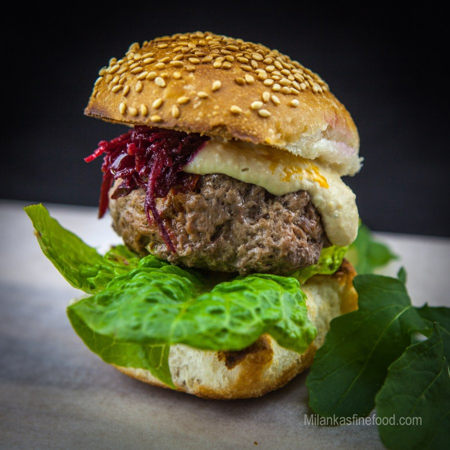 Beef Burgers (With Hummus & Beetroot Jam)