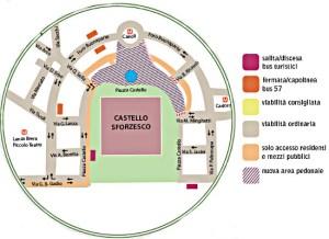 Schema di mobilità per la chiusura al traffico di piazza Castello (fonte Comune di Milano)