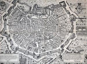 La città di Milano alla fine del Cinquecento: il Castello, al centro, e le sue mura a forma di cuore.