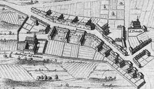 Particolare di una mappa della Milano spagnola con S. Ambrogio ad Nemus presso il borgo degli ortolani in una mappa