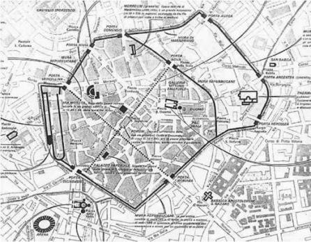 La Milano romana con l'antica Porta Vercellina a sinistra, punto da cui partiva il Decumano (la strada principale che attrvarsava Milano da N-O a S-E