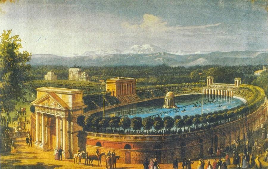 Una stampa immortala l'aspetto di come si presentava l'Arena all'atto dell'inaugurazione