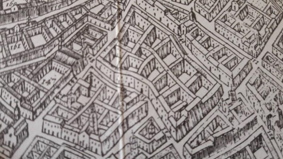 Il quartiere Nosiggia,ancora come si presentava nella mappa del Barateri del 1629, in piena età spagnola