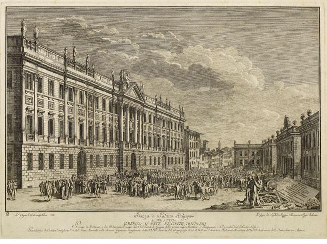 Una stampa della fine del XVIII sec. con la nuova piazza e col palazzo Belgioioso