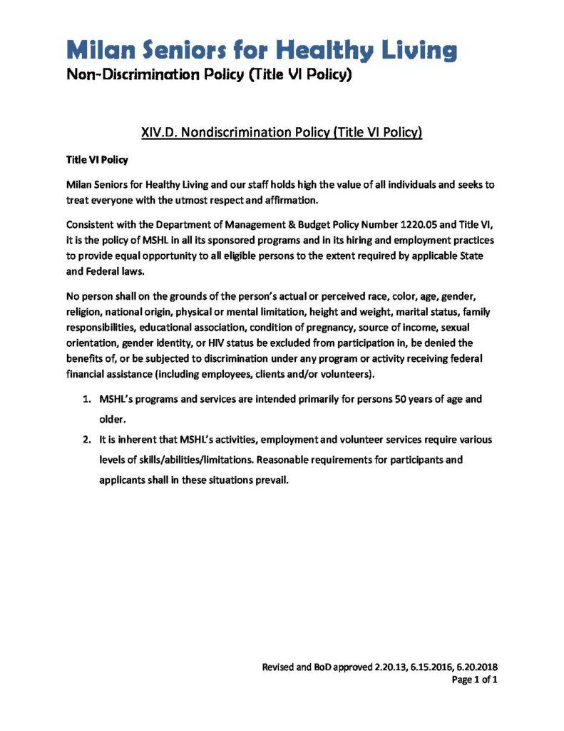 Title VI Nondiscrimination Policy