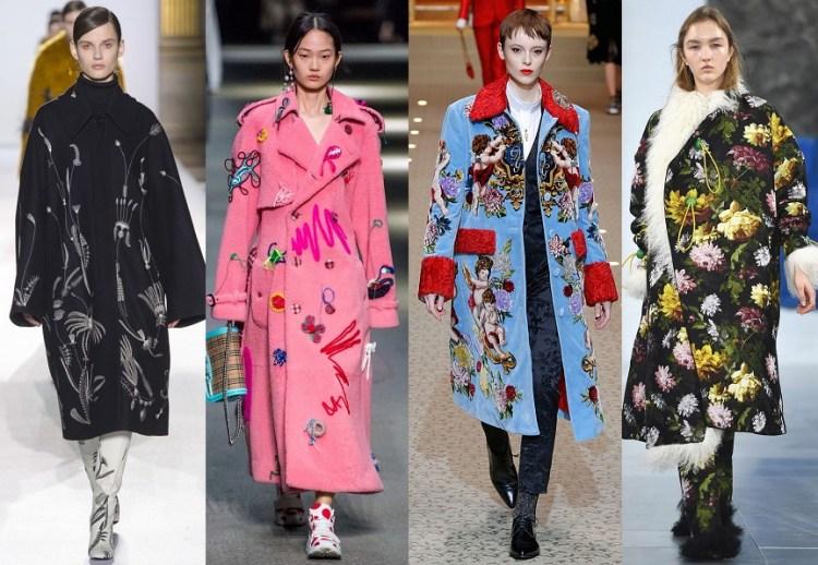 модные пальто с вышивкой осень 2018